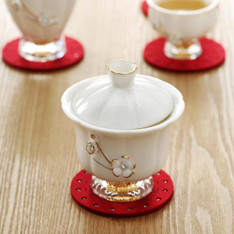 Bộ ly trà sứ pha lê đúc vàng lá 24k