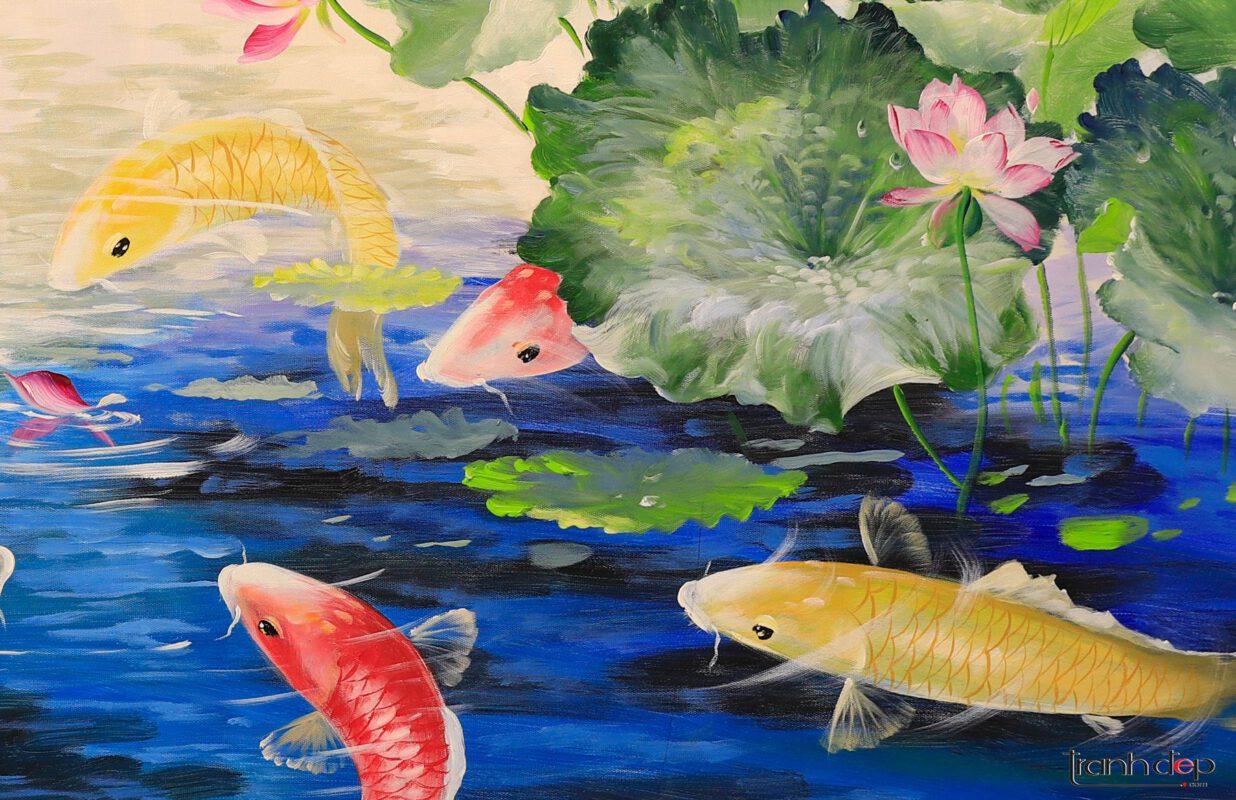 Tranh cá chép và hoa sen