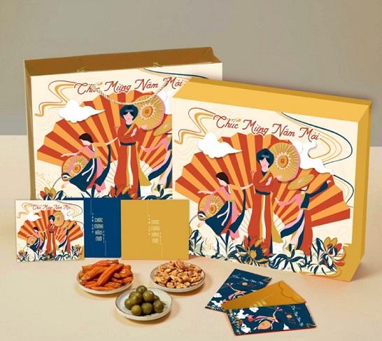 Mẫu hộp quà tết Hội Xuân là một bức tranh miêu tả Hội Lim