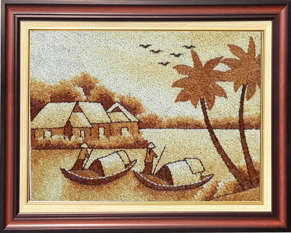 Tranh phong cảnh Việt Nam được làm từ gạo