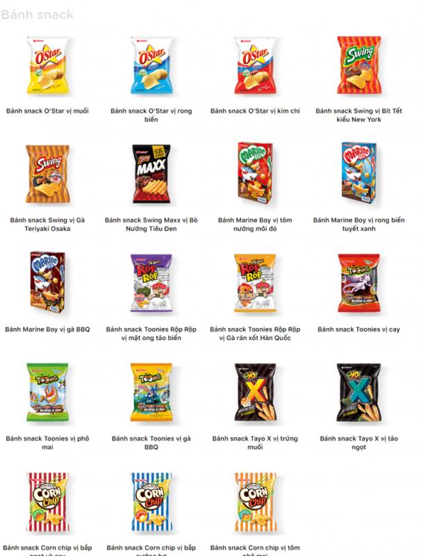 Các loại snack của Orion