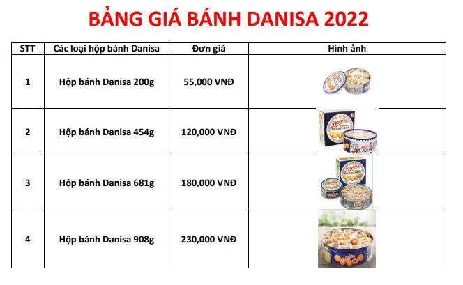 Bảng giá bánh Danisa 2022