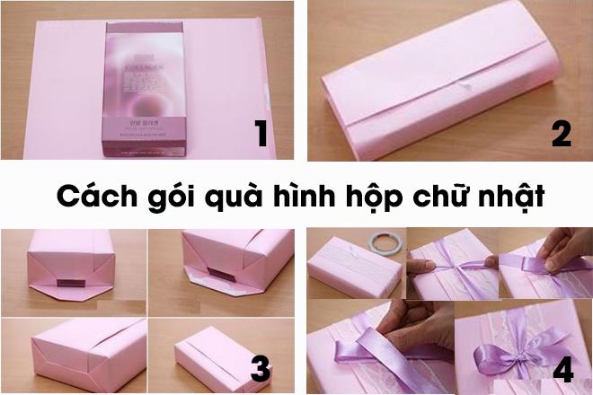 Các bước gói quà theo hình hộp chữ nhật đơn giản