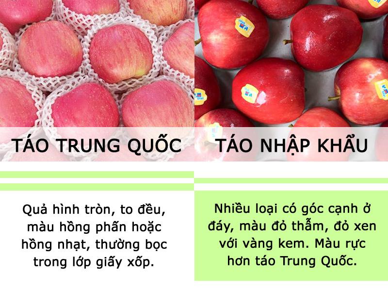 Phân biệt táo Trung Quốc và táo nhập khẩu