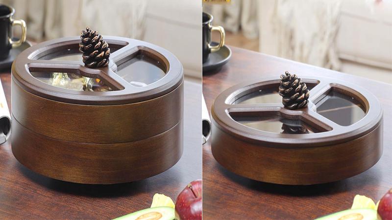 Khay đựng bánh, mứt bằng gỗ hình tròn có 1 và 2 tầng