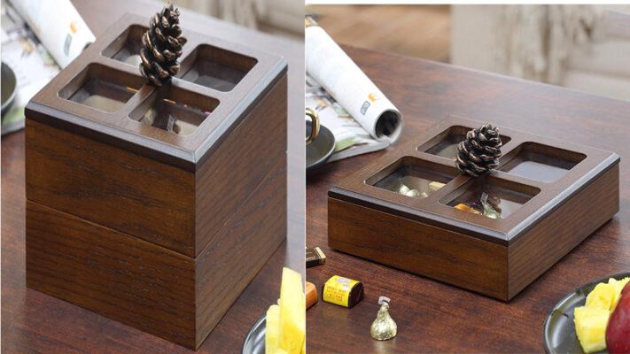 Hộp đựng bánh mứt bằng gỗ hình vuông 2 tầng và thể tháo rời 2 tầng