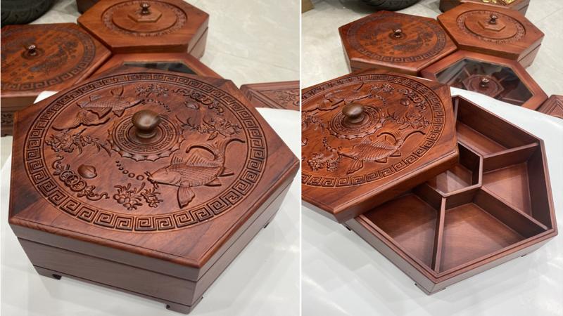 Khay đựng mứt, bánh kẹo Tết bằng gỗ Hương trạm Song Ngư- Lục Giác