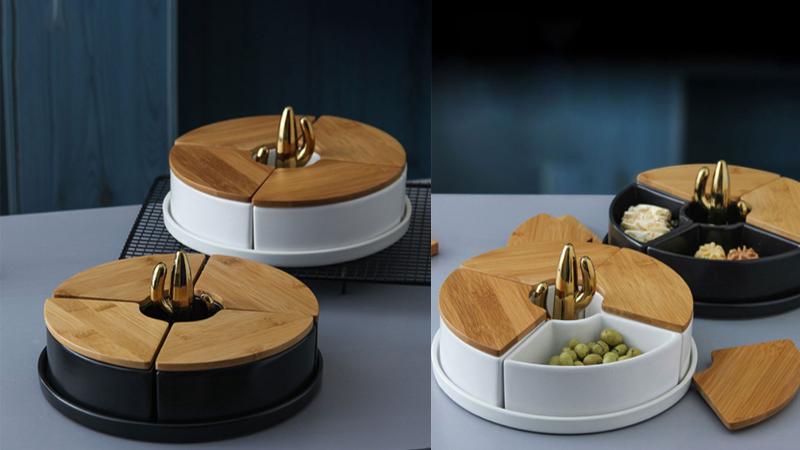 Khay mứt Tết bằng gỗ mẫu tròn kết hợp sứ