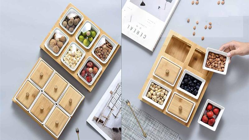 Khay mứt nhiều ngăn vuông kết hợp giữa sứ và gỗ